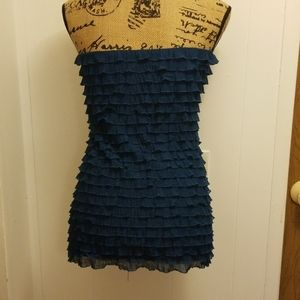 Studio Y Tops - Cute Blue Green Teal Layered Ruffle Strapless Top